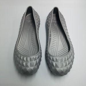 Crocs Gray Textured Geometric Pattern Ballet Flats